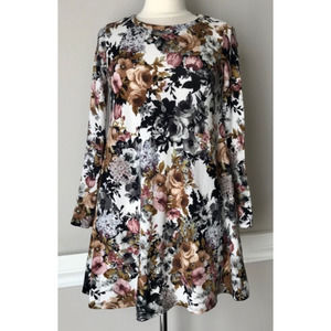 Floral pinc long sleeve dress
